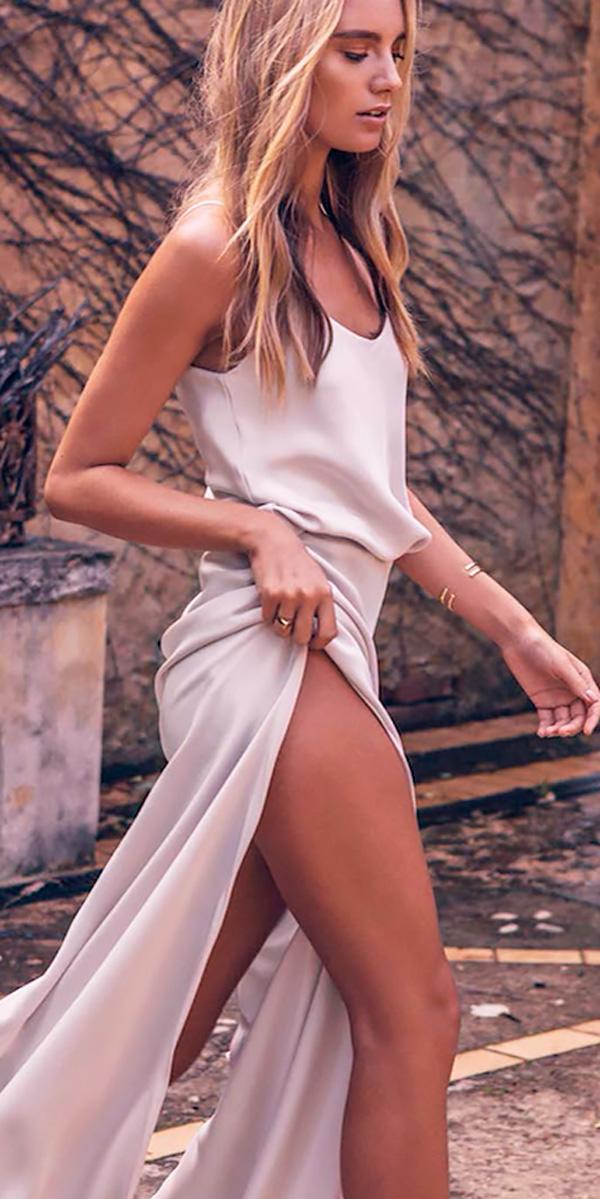 spaghetti strap v neckline beach wedding guest dresses with high slit grace loves lace