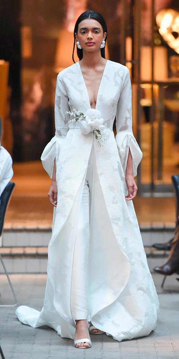 straight pants with upper long cloak wedding dresses 2018 sachin babi