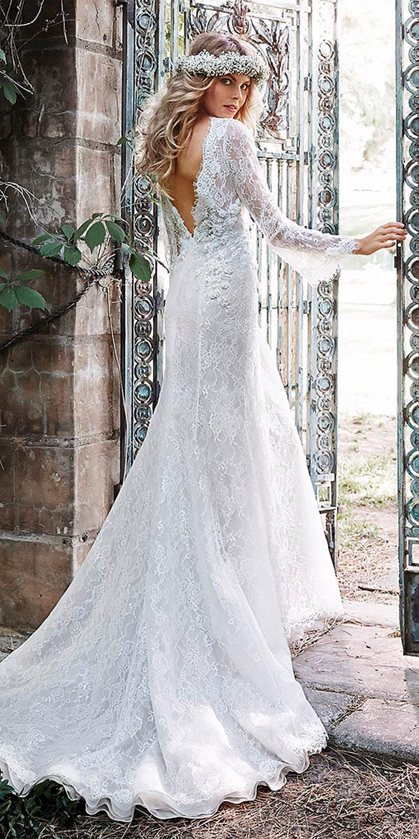 straight v back wedding dresses with lace sleeves maggie sottero
