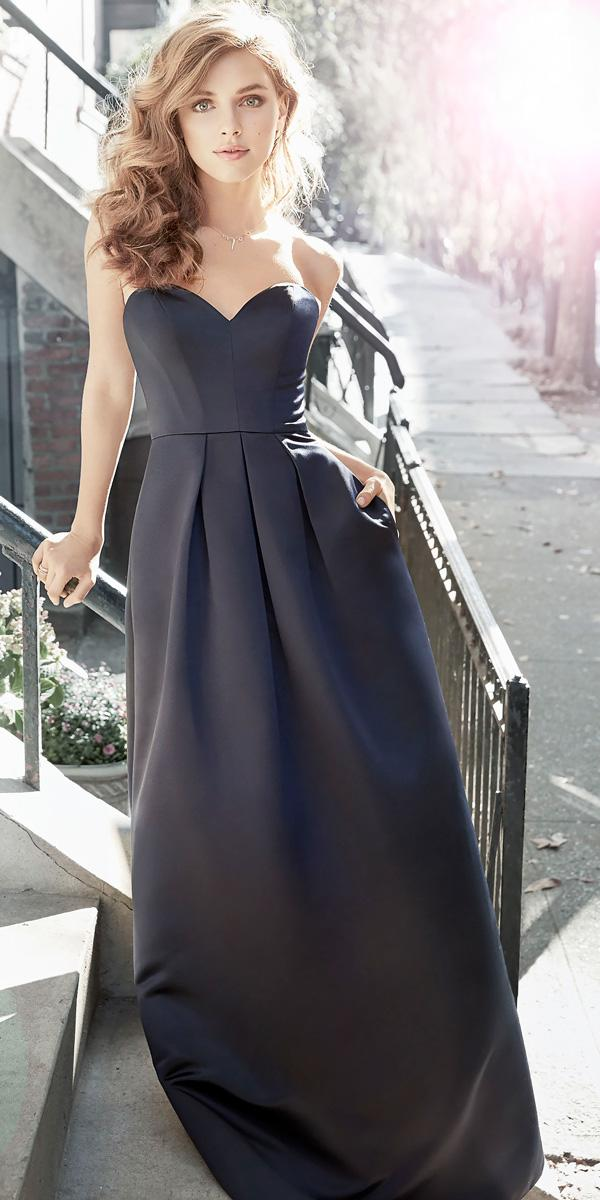 strapless sweetheart neckline blue long bridesmaid dresses hayley paige