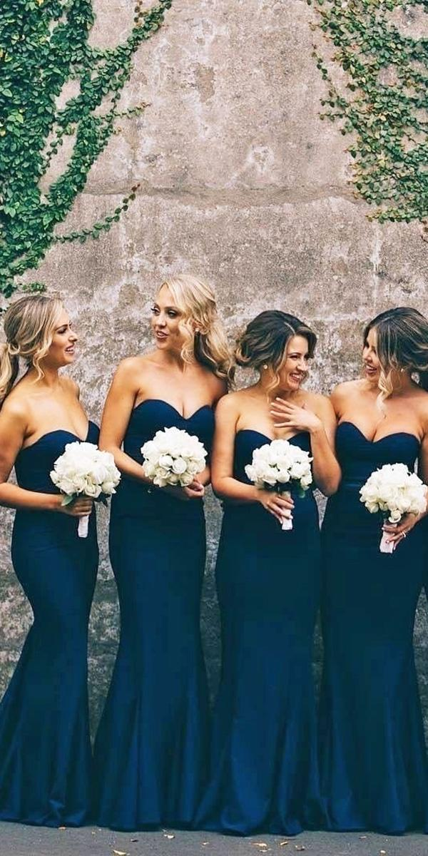 sweetheart full length navy bridesmaid dresses whiterunway