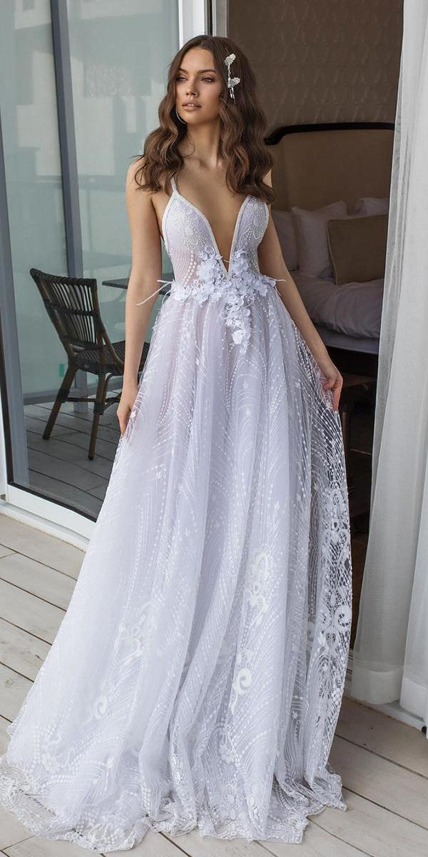 sweetheart wedding dresses a line with straps deep v neckline dimitrius dalia