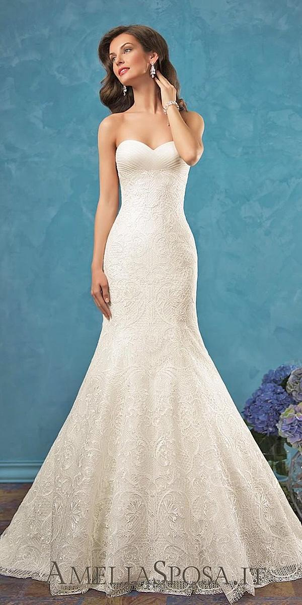 sweetheart wedding dresses simple mermaid lace embellishment amelia sposa