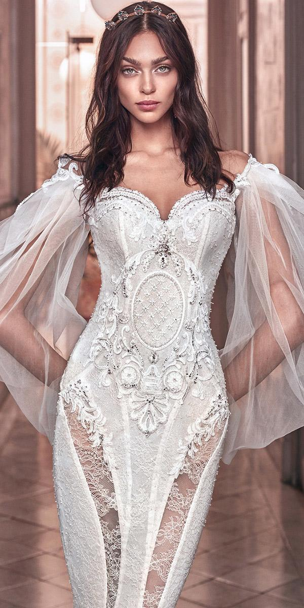sweetheart wedding dresses with sleeves lace vintage galia lahav