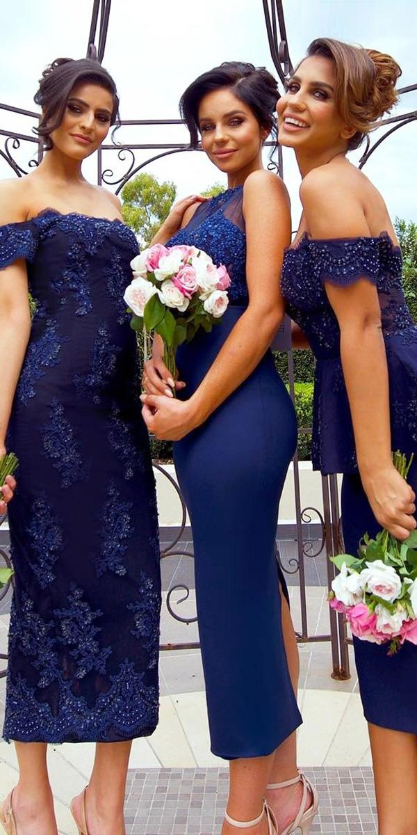 tea length sequins mix and match off the shoulder navy bridesmaid dresses doll house bridesmaids