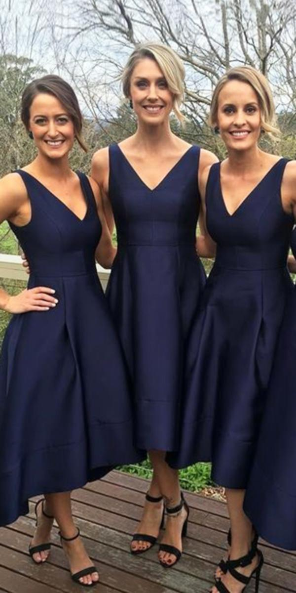 tea length v neck navy bridesmaid dresses for fall wedding