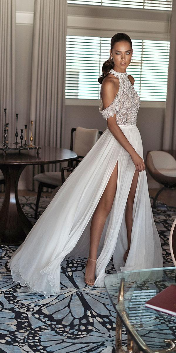 ultra feminine aline with halter and off shoulder elihav sasson wedding dresses