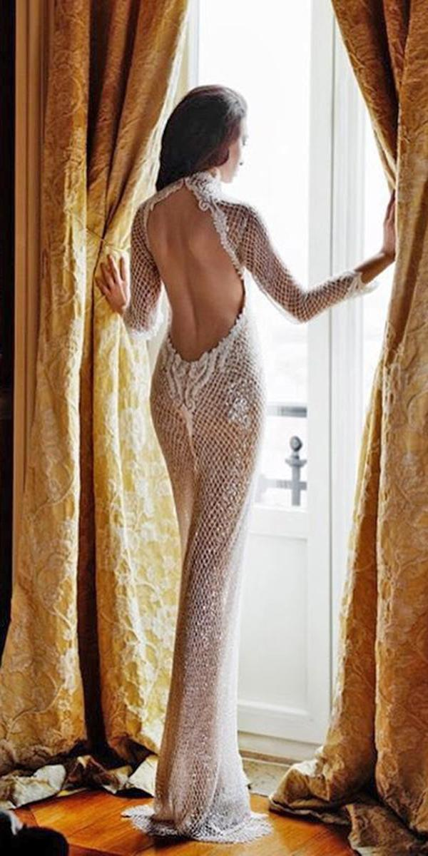 ultra feminine sheath with low back and long sleeves elihav sasson wedding dresses