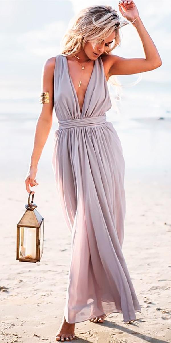 v neckline floor lenght with draped skirt weddind guest dresses sabo skirt