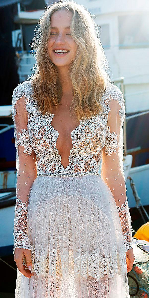 vintage illusion with lace long sleeves wedding dresses alon livne