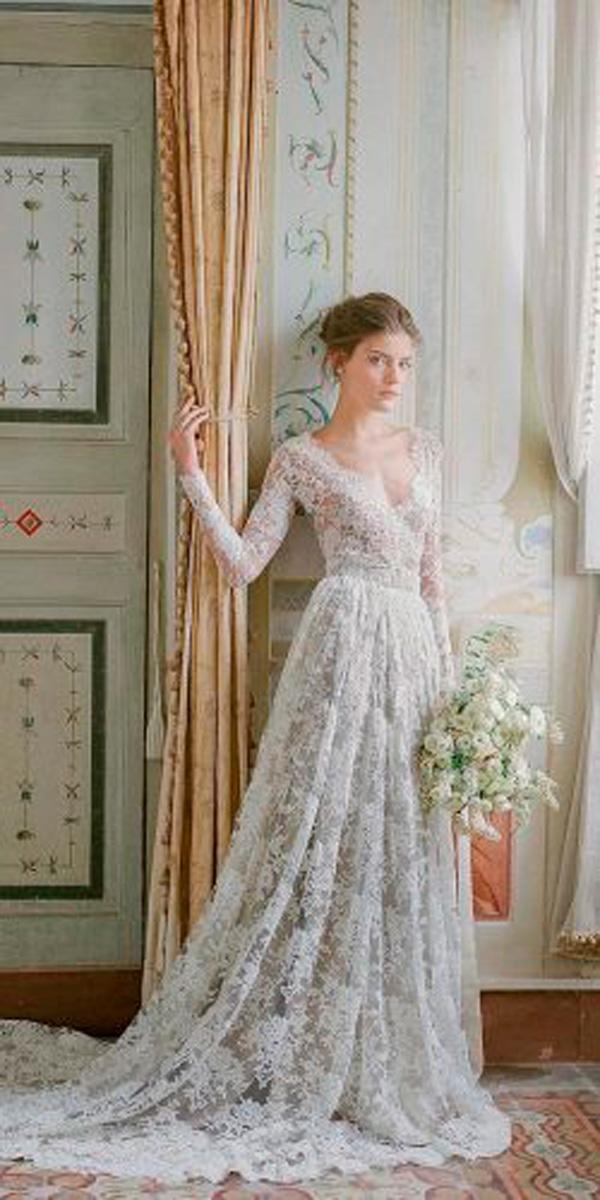 ball gown v back with long sleeves pink wedding dresses lorenzo rossi