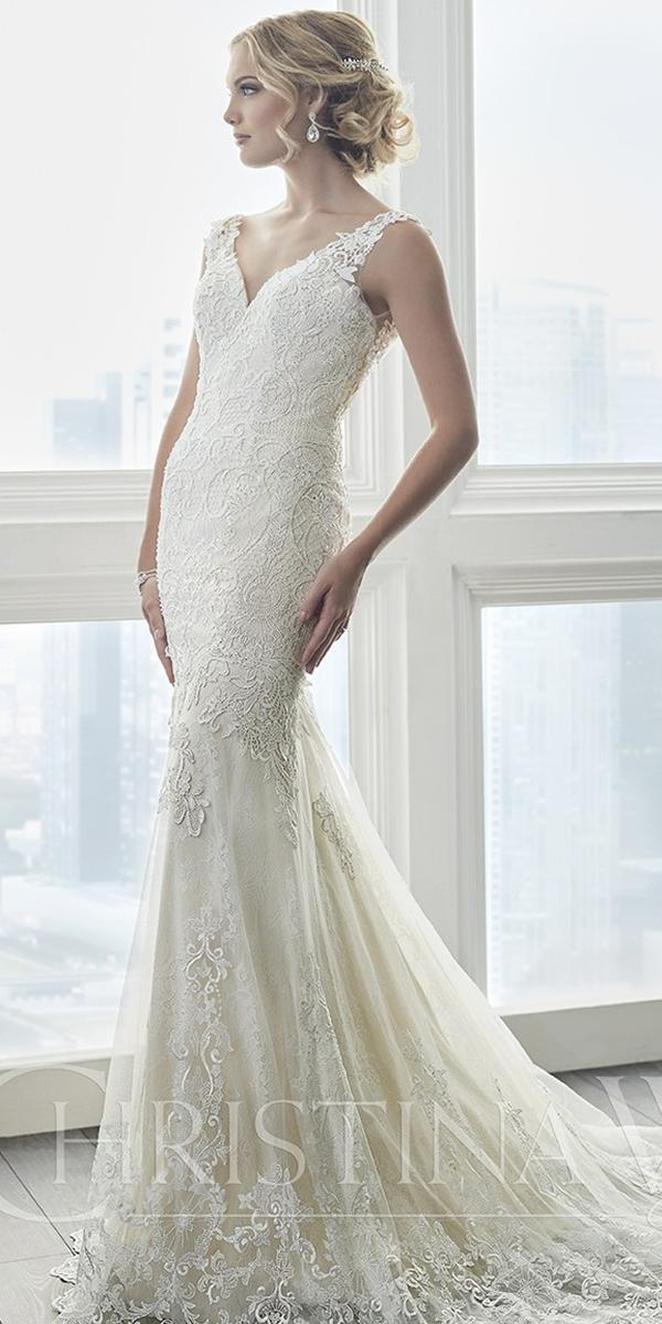 vintage lace wedding dresses features v neck open back christina wu