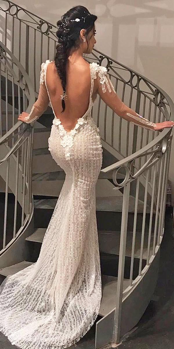 vintage open back wedding dresses mermaid long sleeves idanco hen