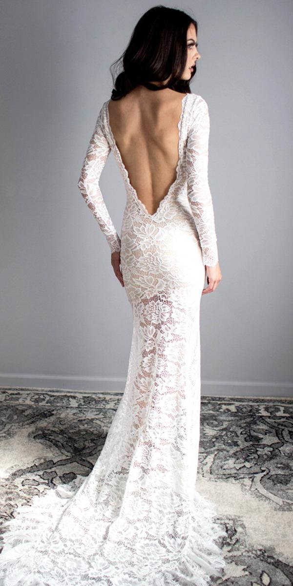 vintage open back wedding dresses with long sleeves lace floral embellishment weary our lovexo