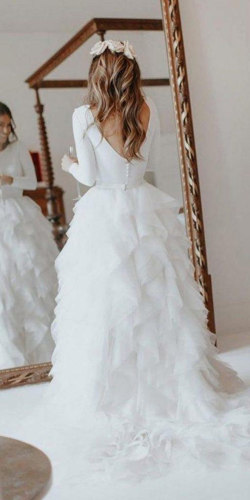 winter wedding dresses with long sleeves simple v back ruffled skirt halfpenny london