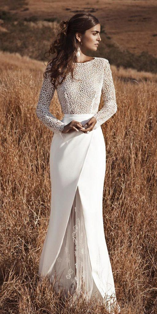 winter wedding dresses with long sleeves lace top sheath silk skirt for country fabienne alagama