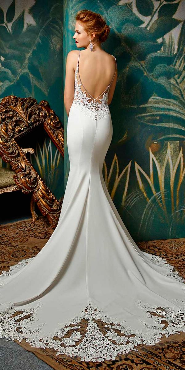 sheath wit spaghetti strap and v open back and train enzoani wedding dresses