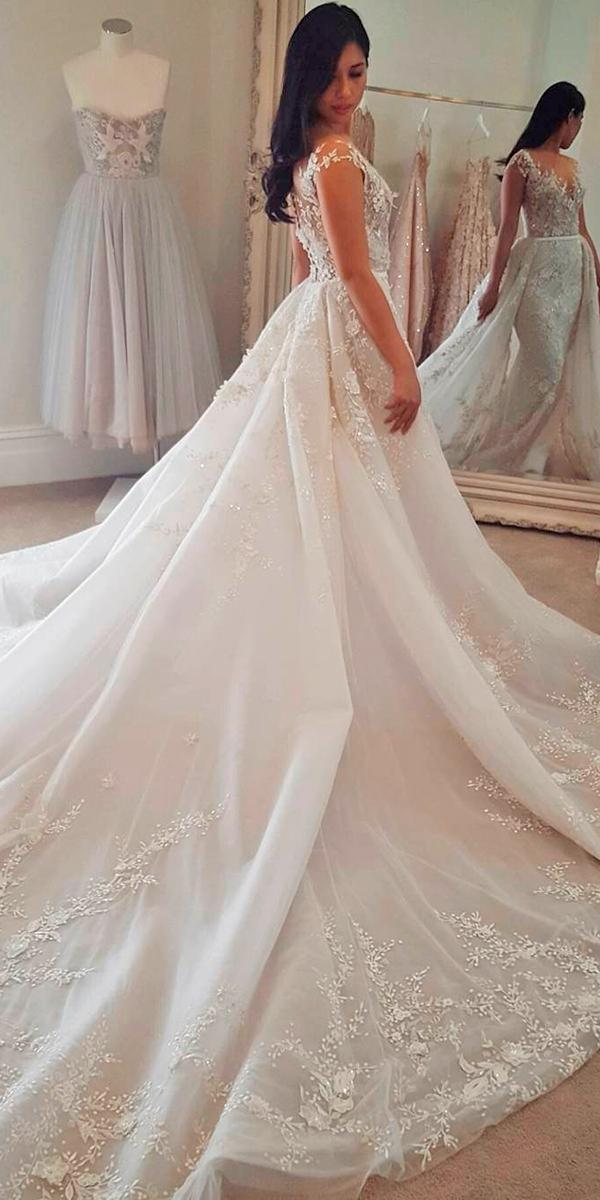 3d lace a line with off shoulder short tattoo effect sleeves and traine paolo sebastian wedding dresses