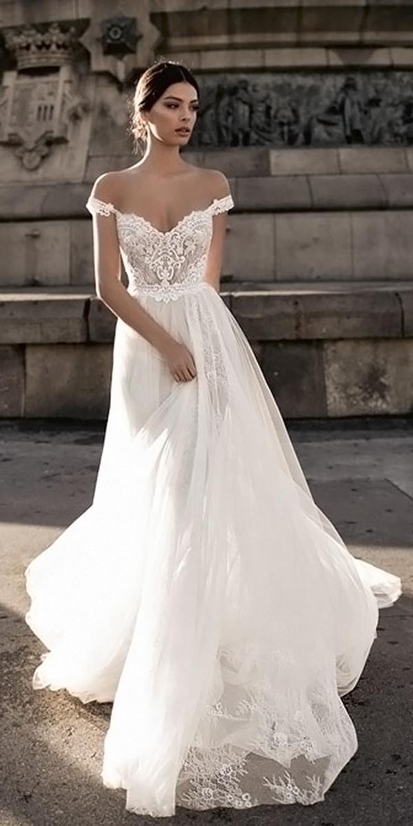 a line embroidered lace top off shoulder gali karten wedding dresses