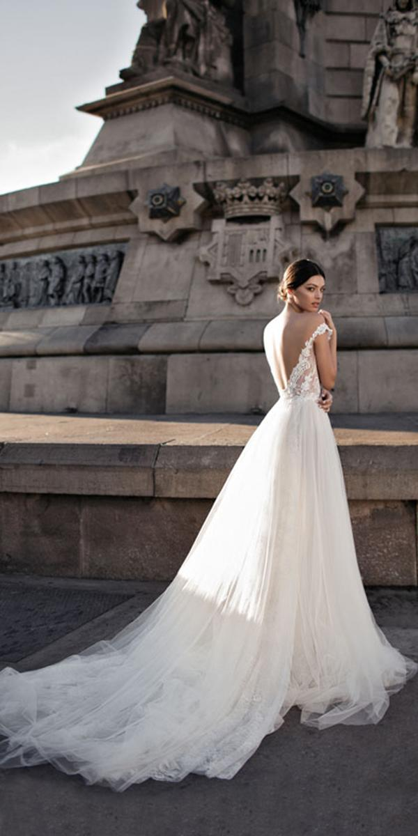 a line embroidered lace top off shoulder with train gali karten wedding dresses