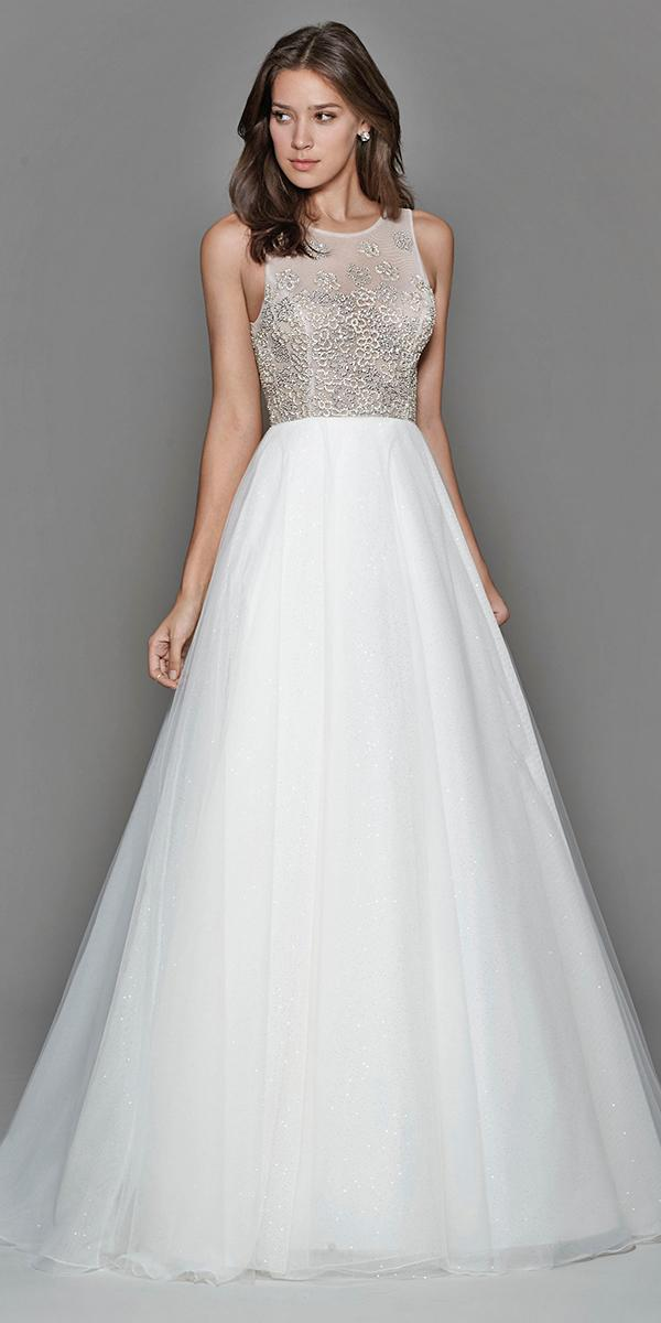a line encrusted bodice with illusion neckline and sparkle tara keely wedding dresses
