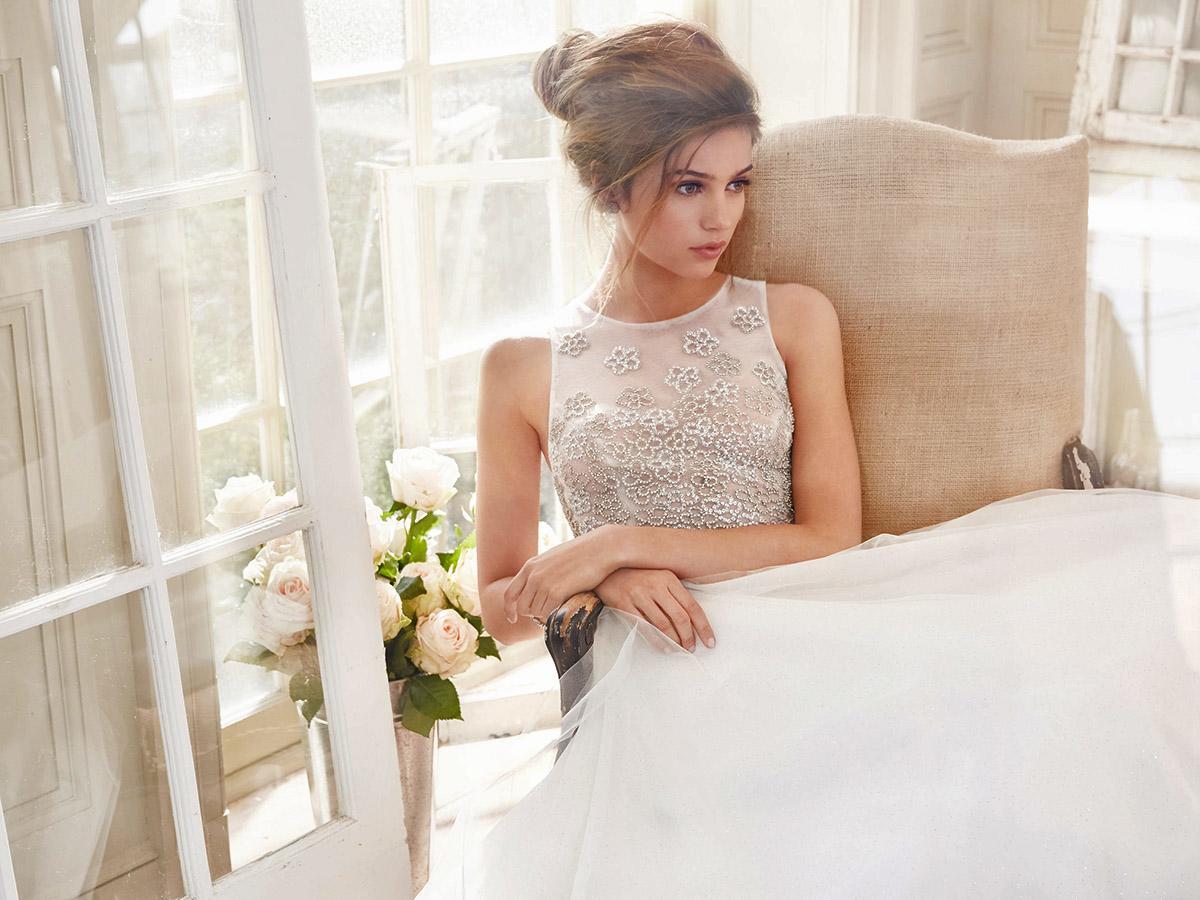 a line encrusted bodice with illusion neckline tara keely wedding dresses