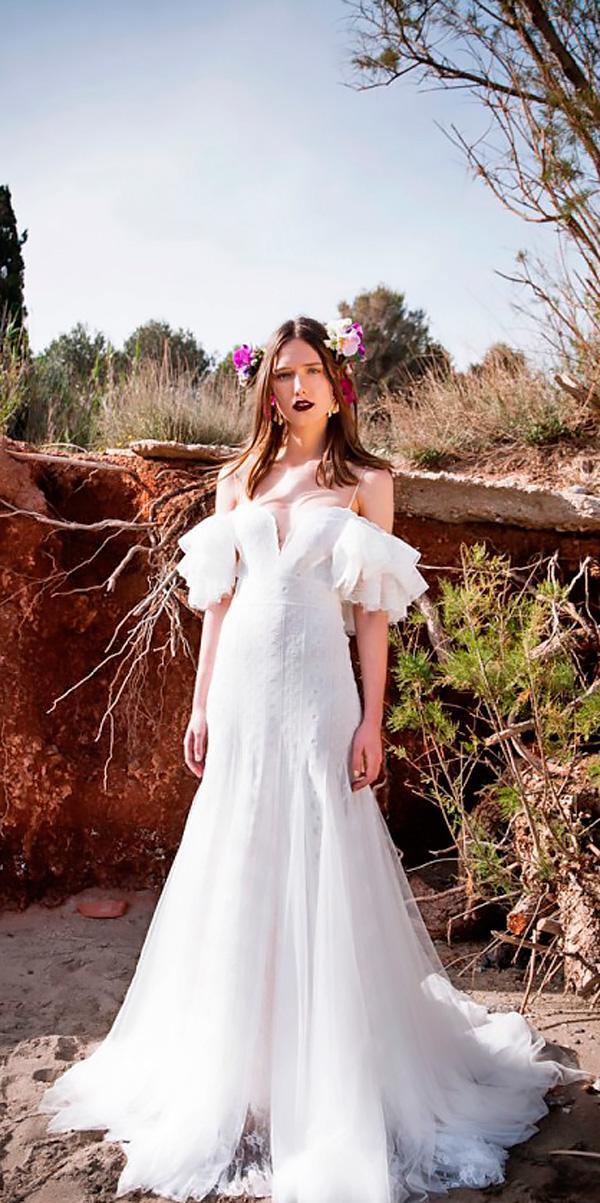 a line flowy off the shoulder destination beach wedding dresses christos costarellos