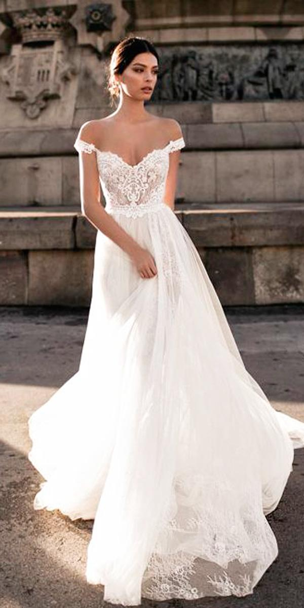 a line lace off the shoulder wedding dresses gali karten