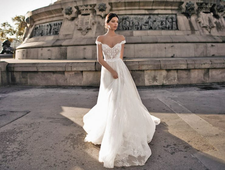 a line lace top off shoulder gali karten wedding dresses