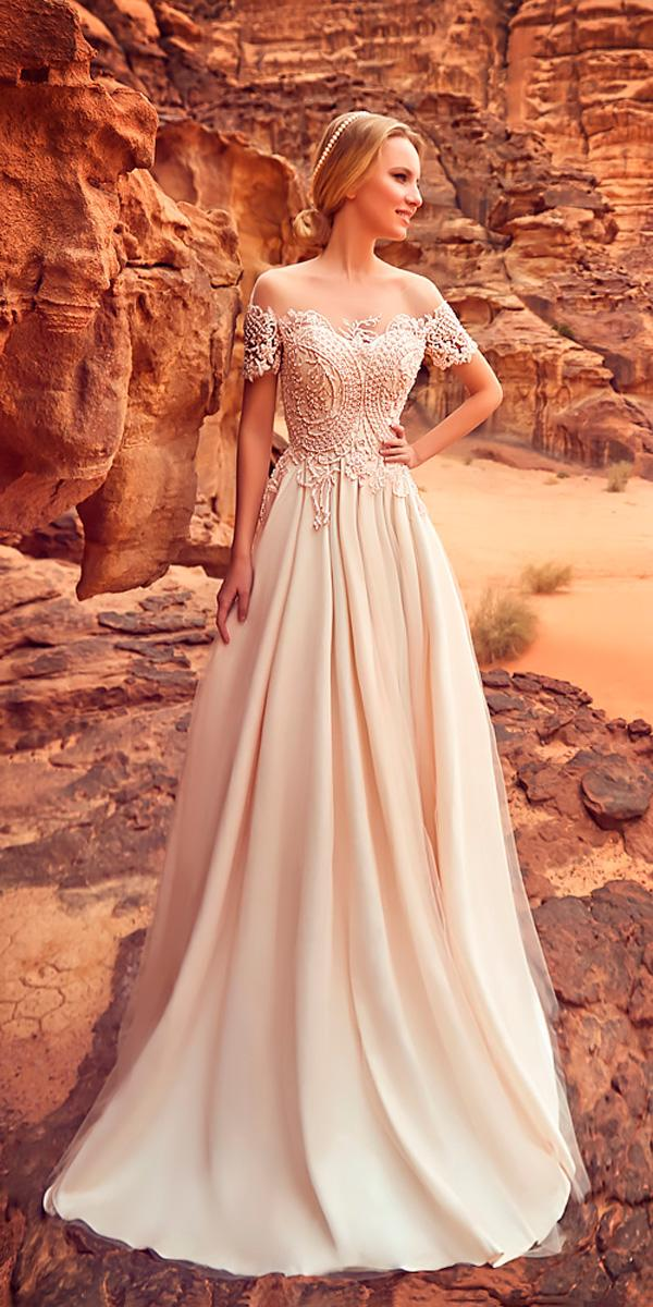 a line lace with sleeves off the shoulder wedding dresses oksana mukha