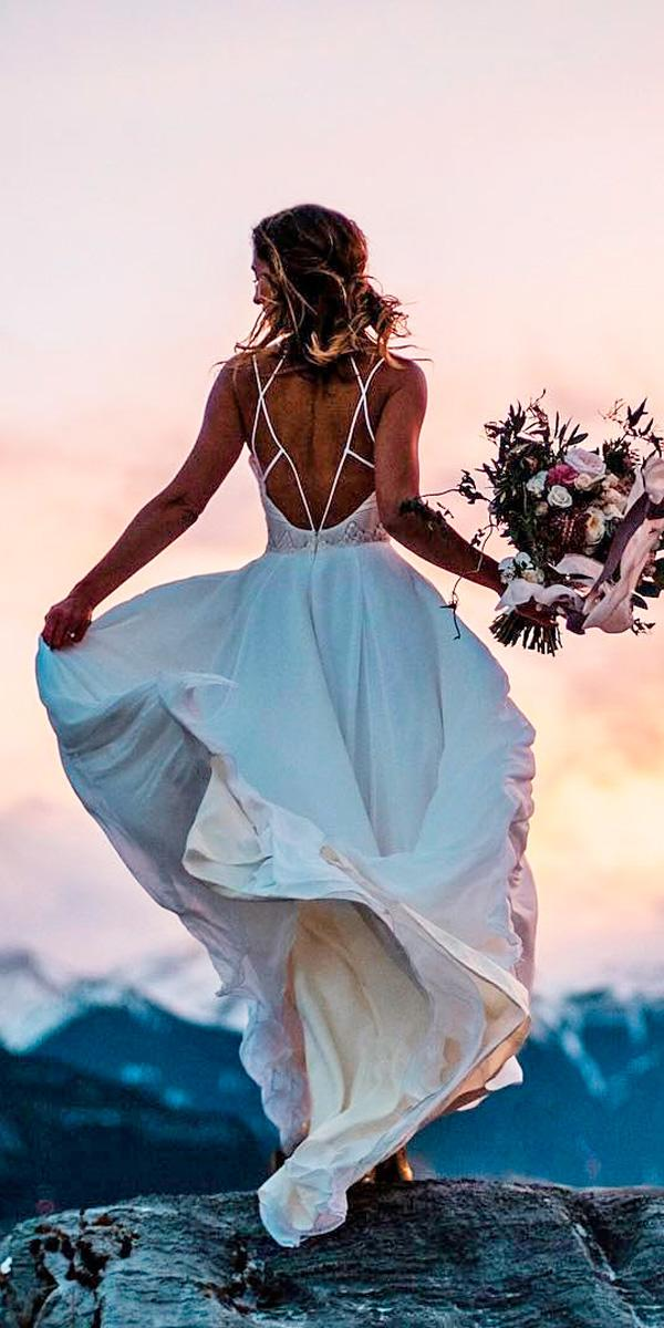 a line simple open back backless destination beach wedding dresses hayley paige