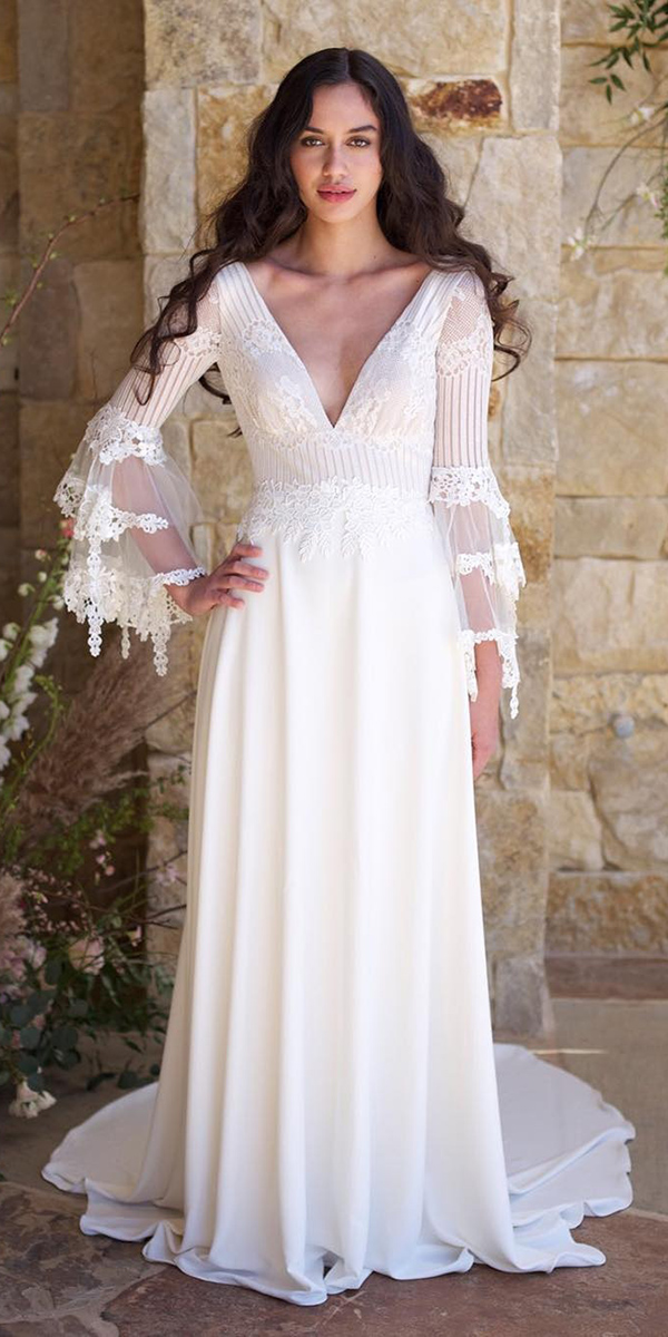 a line v neckline lace long sleeves claire pettibone wedding dresses