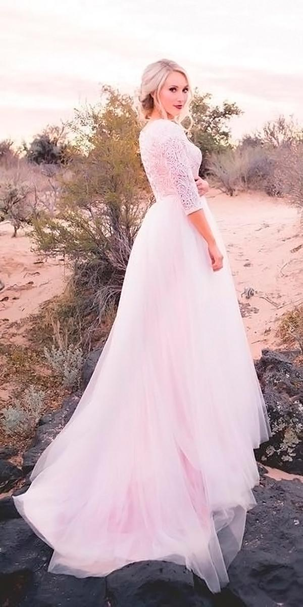 a line with 3 4 sleeves and train elizabeth cooper wedding dresses