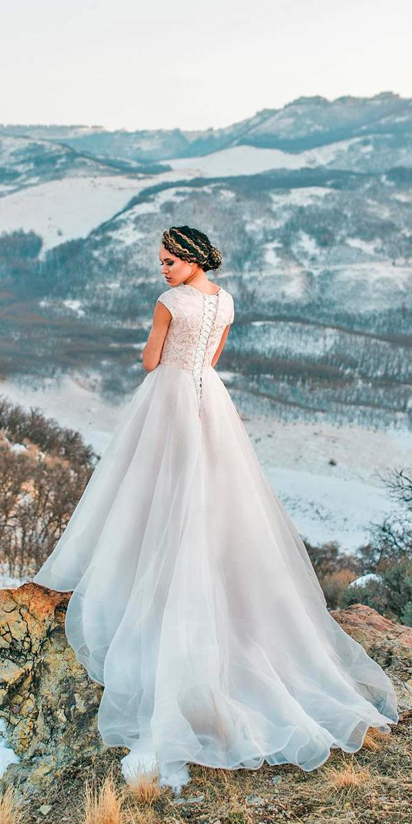 a line with lace up back and short sleeves and train elizabeth cooper wedding dresses