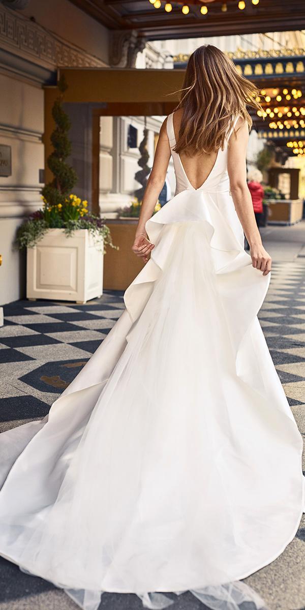 a line with v back simple wedding dresses monique lhuillier