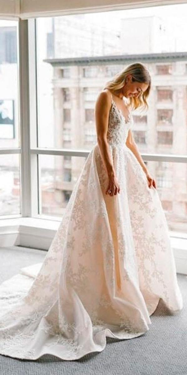 lace a line with v neckline and train paolo sebastian wedding dresses