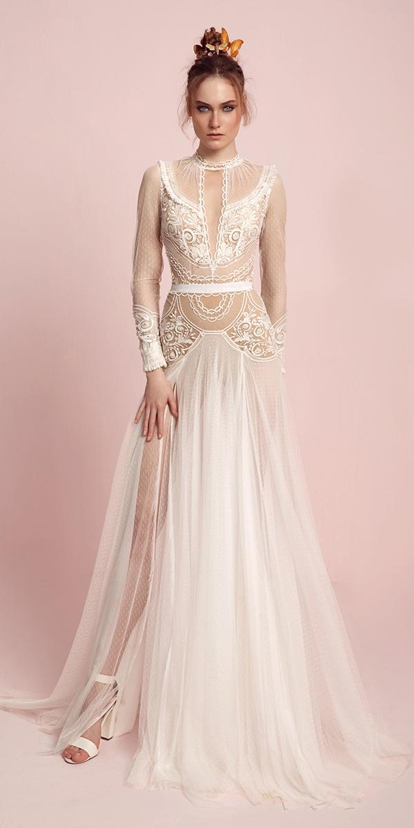 aline high neckline with long sleeve and slit and keyhole lior charchy wedding dresses