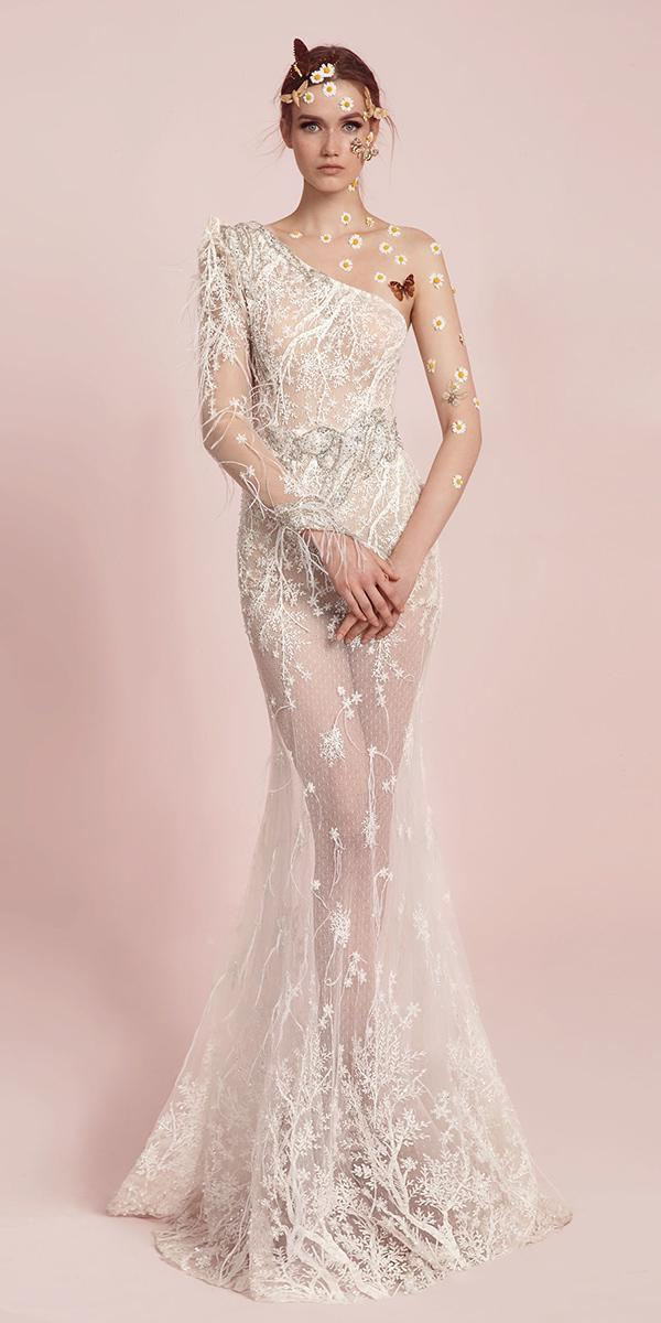 asymmetric neckline with long sleeve and floral details lior charchy wedding dresses