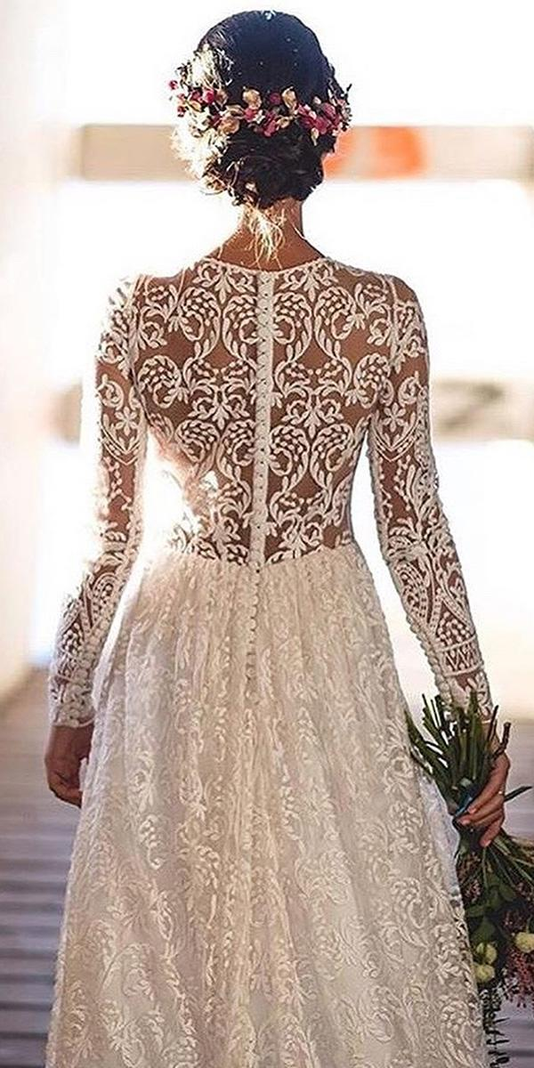 backless wedding dresses a line with long sleeves full lace nicolas costura