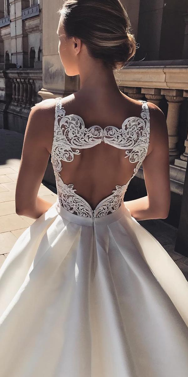 backless wedding dresses ball gown open back lace modern enzoani