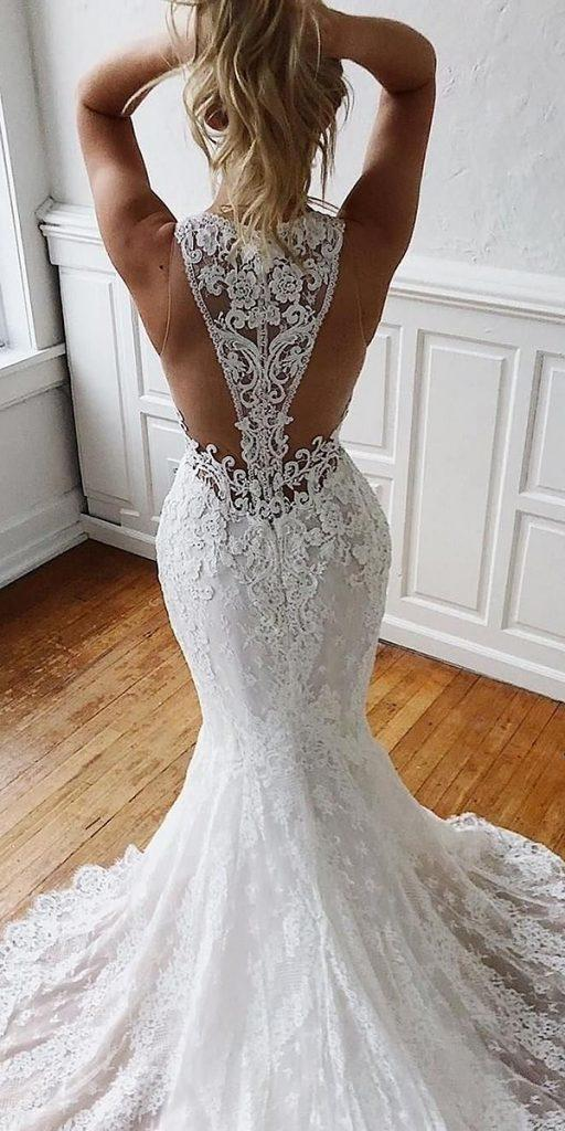 backless wedding dresses fit and flare with illusion lace back enzoani