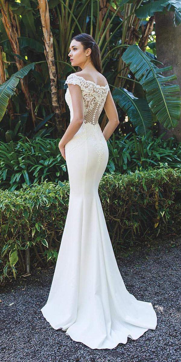 backless wedding dresses mermaid lace with buttons oksana mukha
