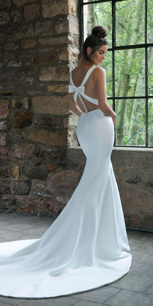 backless wedding dresses mermaid simple with bow buttons sincerity bridal