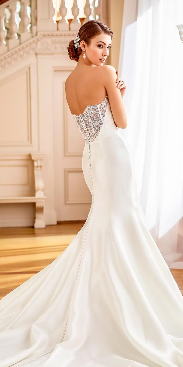 backless wedding dresses mermaid sleeves strapless sweetheart neckline heavily embellished mon cheri