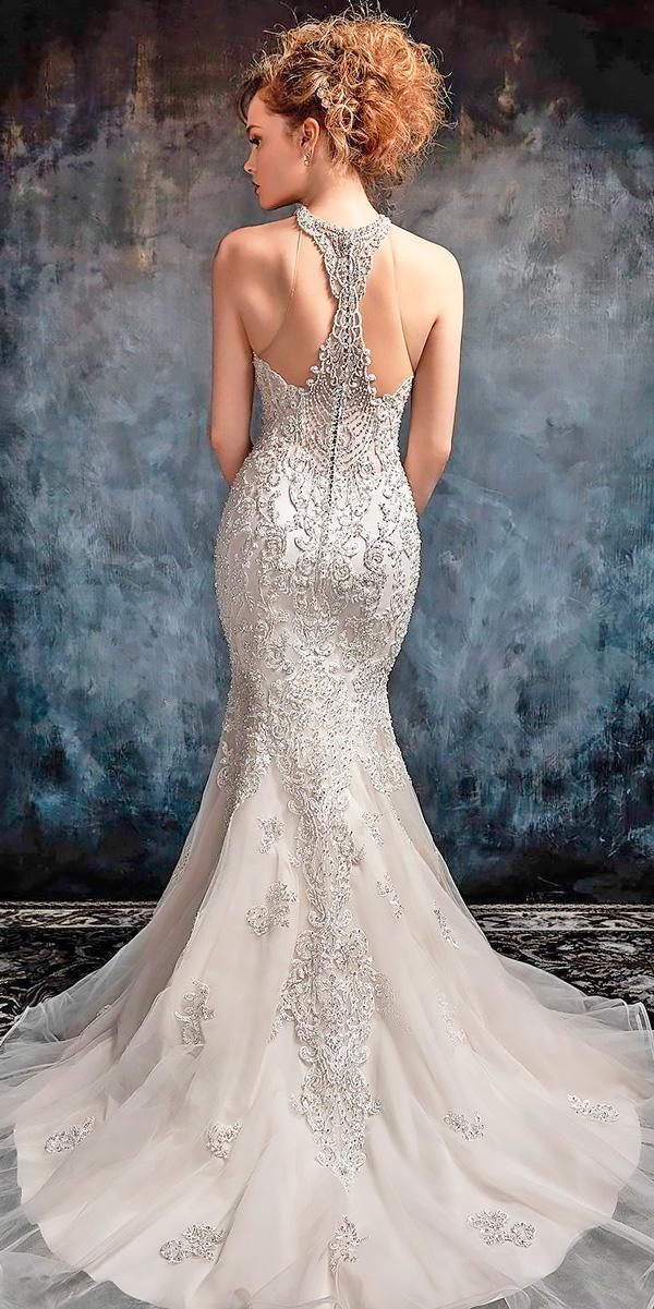 backless wedding dresses mermaid strapless sweetheart neckline heavily embellished kenneth winston