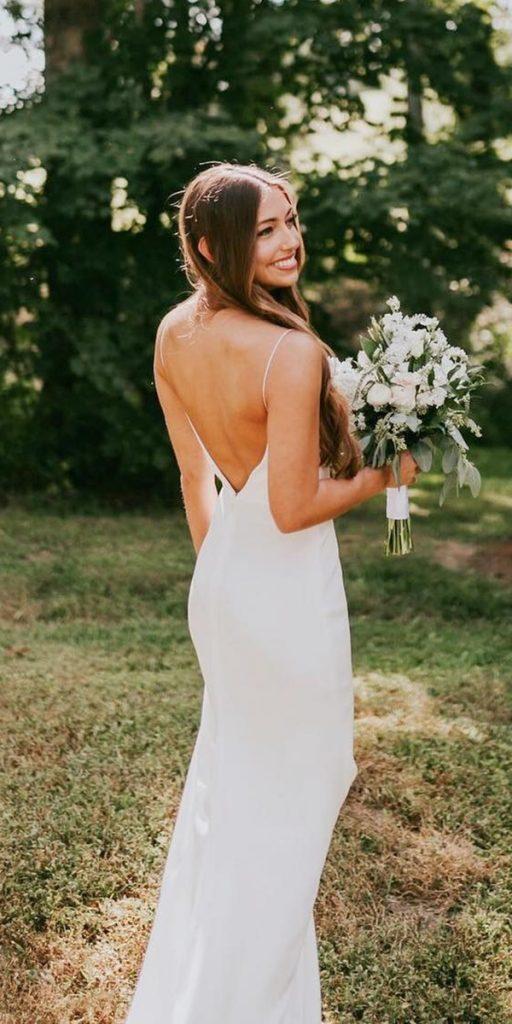 backless wedding dresses simple beach with spaghetti straps v back alexandragrecco