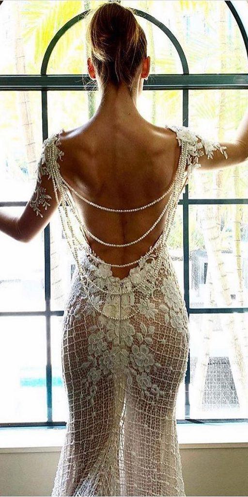 backless dresses with illusion long sleeves lace galialahav
