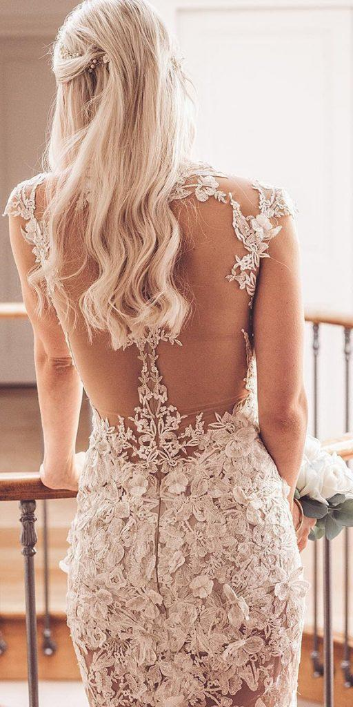 backless wedding dresses with cap sleeves illusion lace floral appliques galialahav