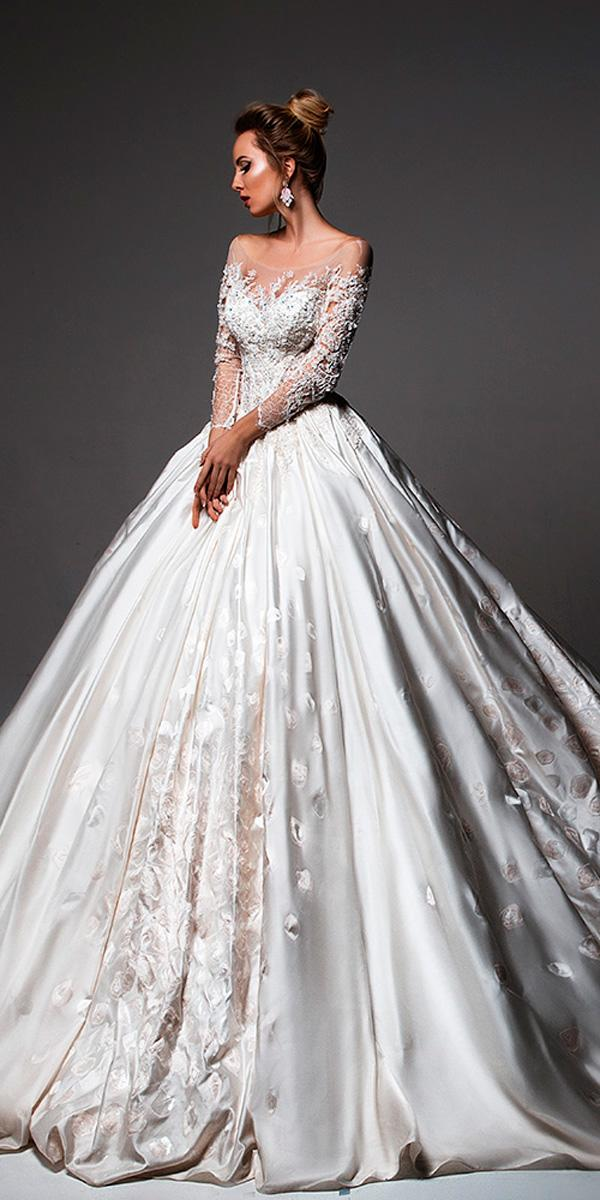 ball gown floral with long sleeves off the shoulder wedding dresses oksana mukha