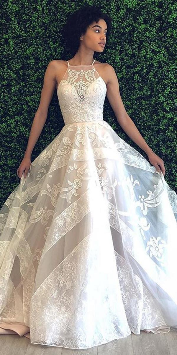 ball gown lace halter neckline illusion sweetheart sleeveless wedding dresses heyley paige